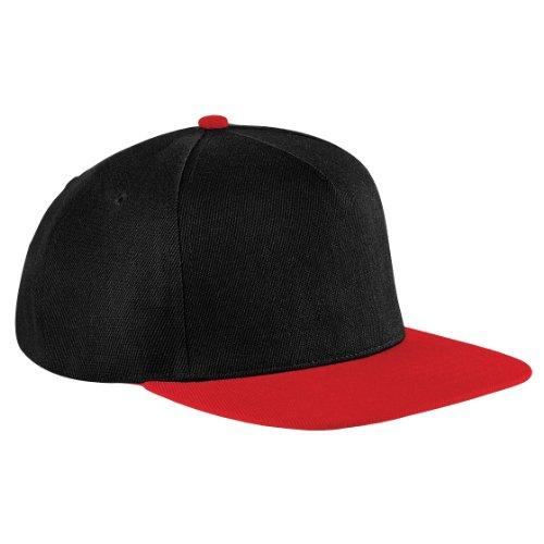 Beechfield - Casquette à visière plate - Unisexe, - Black/Classic Red, Taille unique