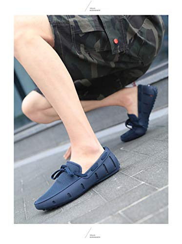 Go Tour Men's Fashion Casual Boat Shoes Breathable Slip on Shoes Navy 43