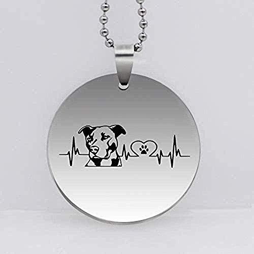 ZGYFJCH Co.,ltd Collar de Acero Inoxidable Personalidad Pitbull GOG Collar Colgante Divertido Latido del corazón joyería de Regalo Regalos