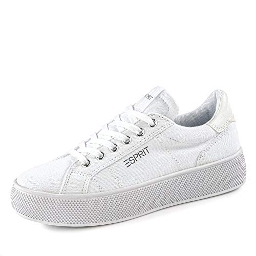 ESPRIT 030EK1W339 Babika LU Damen Sneaker aus Textil mit Textilinnenausstattung, Groesse 38, weiß
