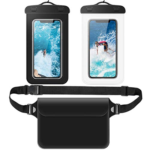 2 Waterproof Cellphone Dry Bag Case & 1 Waterproof Pouch Dry Bag Case Waist Strap with Waist/Shoulder Strap Pack, Black(2 Case + 1 Pouch)