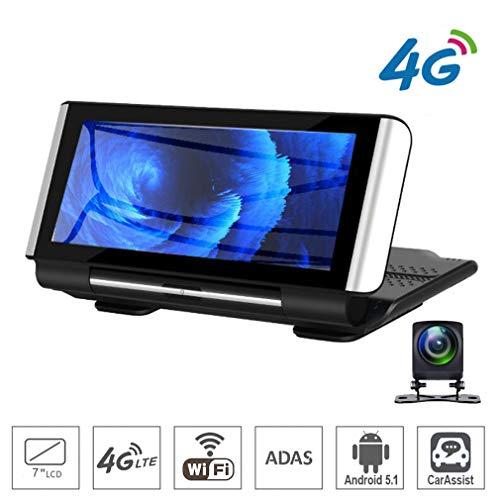 SZKJ K300 17,8 cm (7 Zoll) Touch 4G Android Dashcam WiFi GPS Full HD 1080P Auto Mittelkonsole Armaturenbrett Video Recorder Dual Lens Registrar Dash Cam ROM 16 GB ADAS Auto DVR Kamera