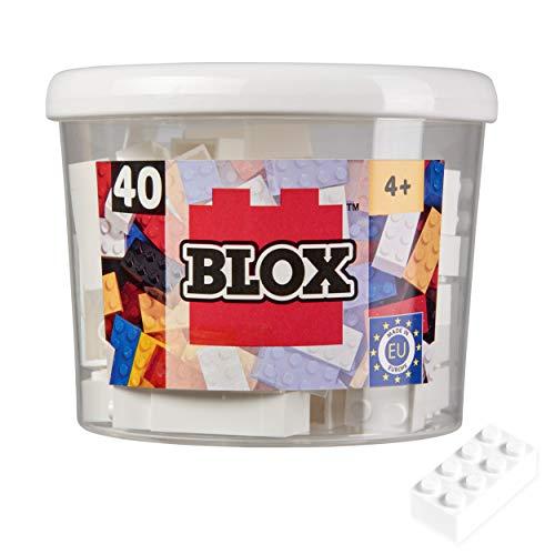 Simba 104118890 - Blox, 40 weiße Klemmbausteine für Kinder ab 3 Jahren, 8er Steine, inklusive Dose, hohe Qualität, vollkompatibel mit anderen Herstellern