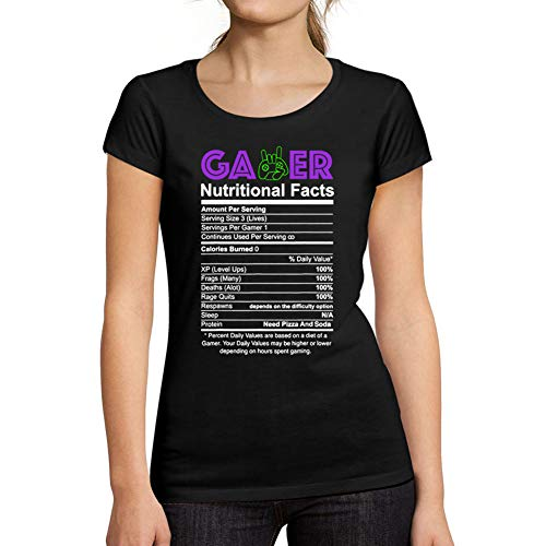 Ultrabasic® Camiseta de Manga Corta de Mujer Gamer Nutritional Facts T-Shirt Esports Idea de Regalo Divertida Negro Profundo