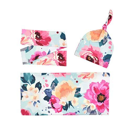 TOYANDONA 1 Set 3 Pcs Couverture de Réception avec Bandeau Bonnet Chapeau Nouveau-Né Bébé Imprimé Floral Photographie Accessoires (Motif Floral)