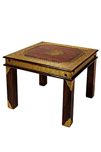 Marokkanischer Wohnzimmertisch Couchtisch Holz massiv Alim 60cm   Vintage Tisch aus Massivholz Messing verziert für Ihre Wohnzimmer   Niedriger Orientalischer Sofatisch Massivholztisch Dunkelbraun