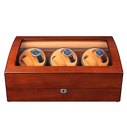Sunmong Caja enrolladora de Reloj automática de Lujo, 5 Modos de rotación, Motor silencioso, Caja de exhibición de Almacenamiento de Relojes con Carcasa de Madera (Color: E)