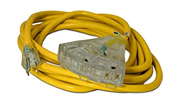 15-ft 14/3 Heavy Duty 3-Outlet Lighted SJTW Indoor/Outdoor Extension Cord by Watt s Wire - Yellow 15  14-Gauge Grounded 15-Amp Three-Prong Power-Cord  15 foot 14-Awg