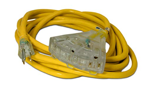 15-ft 14/3 Heavy Duty 3-Outlet Lighted SJTW Indoor/Outdoor Extension Cord by Watt's Wire - Yellow 15' 14-Gauge Grounded 15-Amp Three-Prong Power-Cord (15 foot 14-Awg)