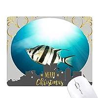 海洋生物の熱帯の海の魚 クリスマスイブのゴムマウスパッド