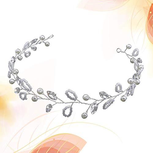 Lurrose Diadema nupcial perla de cristal Hair Band vestido de novia Tiara accesorios para el cabello para la boda (plata)
