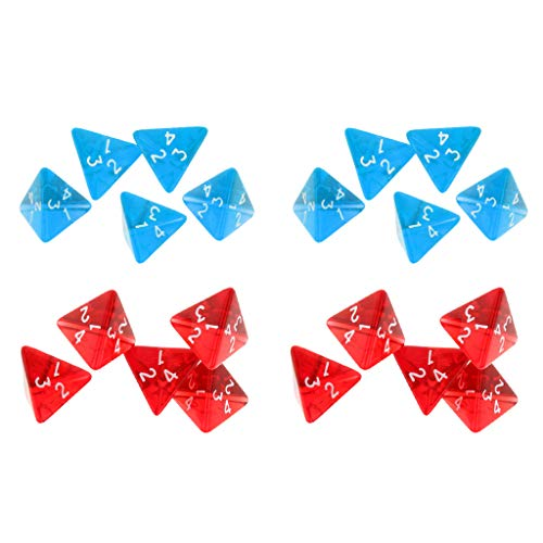 perfeclan 20 Piezas de Dados Triangulares de 4 Lados D4 Juegos de rol D & D Party Game Prop