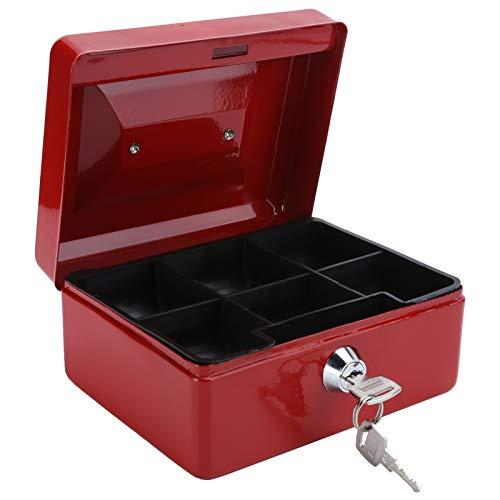 wxf Mini Caja De Efectivo Portátil De 6 Pulgadas Caja De Seguridad con Cerradura para Dinero Caja De Seguridad con Cerradura con Llave Uso En La Oficina En Casa (Rojo)