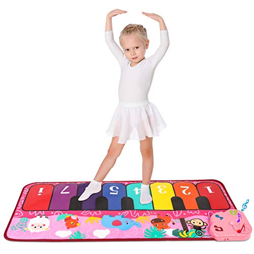 M SANMERSEN Piano Mat, Kids Piano Keyboard Mat Musical PlayMat with 5 Animal Sounds Touch Play Mat for Boys Girls