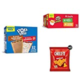 Pop-Tarts, Breakfast Toaster Pastries, Variety Pack (1 Pack 32Count) with Pringles Flavored Variety Pack Potato Crisps and Cheez-It, Baked Snack Cheese Crackers (40 Count)