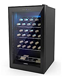 small size KUPPET 27 Bottle Compressor Freestanding Wine Cooler / Cooler – Red / White Wine, Beer, Champagne Wine Cellar – Digital Temperature Display – Double Glass Door – Quiet Operation