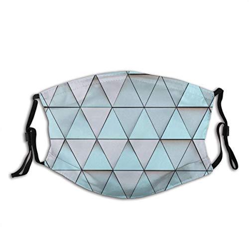 Gesichtsschutz Mundschutz Gebäude Fassade Dreiecke Hellblau und Creme Sturmhaube Mund Bandanas Hals Gamasche mit 2 Filtern