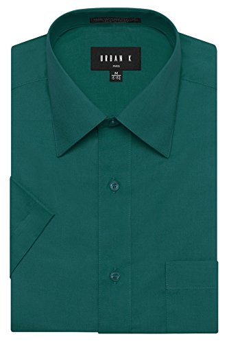 URBAN K Men's Classic Fit Solid Formal Collar Short Sleeve Dress Shirts Regular & Plus Size
