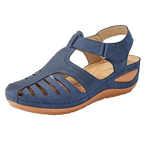 RTPR Sandalias para mujer, estilo retro europeo y americano, tallas grandes, ligeras, suela suave, zapatos informales, marine, 37 EU