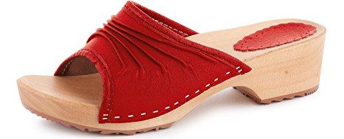 Ladeheid Damen Holzschuhe Leder Clogs Holz Sohle Holzclogs LABR310 (Rot, 39 EU)