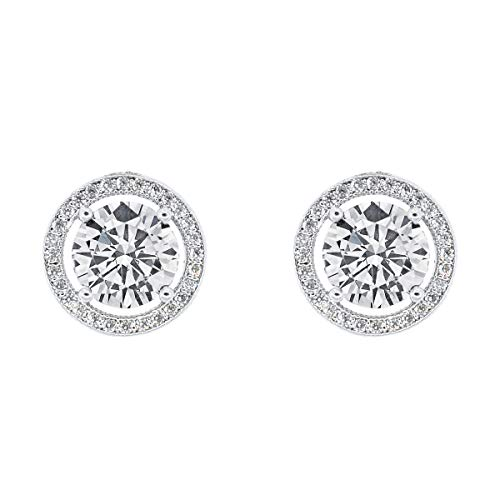 Cate & Chloe Ariel 18k White Gold Plated Halo CZ Stud Earrings, Silver Simulated Diamond Earrings, Round Cut Earring Studs, Best Gift Ideas for Women, Girls, Ladies, Special-Occasion Jewelry
