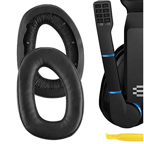 Geekria QuickFit Protein Leather Replacement Ear Pads for Sennheiser GSP 300 GSP 301 GSP 302 GSP 303 GSP 350 Headphones Earpads, Headset Ear Cushion Repair Parts (Black)