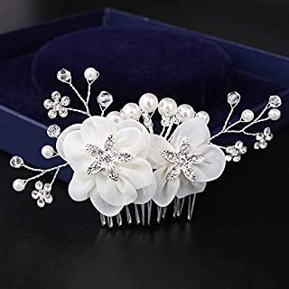 Wedding Hair Comb Crystal Vintage Bridal Hair Clips Accessories for Brides and Bridesmaids (With Organza)