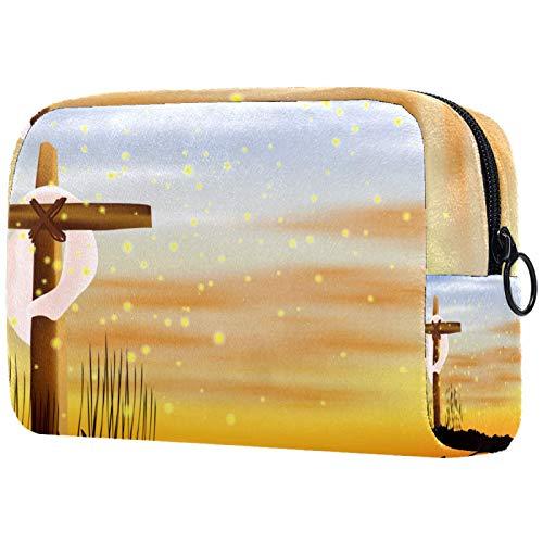 Yitian Bolsa de cosméticos para el Día de la Semana Santa para las mujeres, adorables bolsas de maquillaje espaciosas bolsa de aseo de viaje