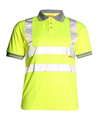 Fast Fashion Hi Viz Arbeit Tragen Graue Kragen Sicherheits Visability Polo-T-Shirt
