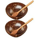 Cabilock 2 Juegos de Cuencos de Coco con Cucharas Cuencos de Coco Natural para Ensalada de Aceite de Coco Desayuno Comida Que Sirve