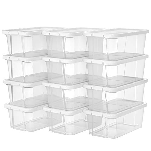 SONGMICS 12er Set Schuhboxen Aufbewahrungsboxen für Schuhe Schuhaufbewahrung Speicherbox Transparent Mit Deckel Kunststoff für Schuhe bis Größe 41 LSP12WT