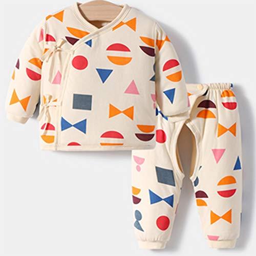 zzyyy Neugeborene warme Kleidung Herbst und Winter Baumwollgepolsterte Kleidung Baby Gesteppte Babyverdickung,Beige geometry-59