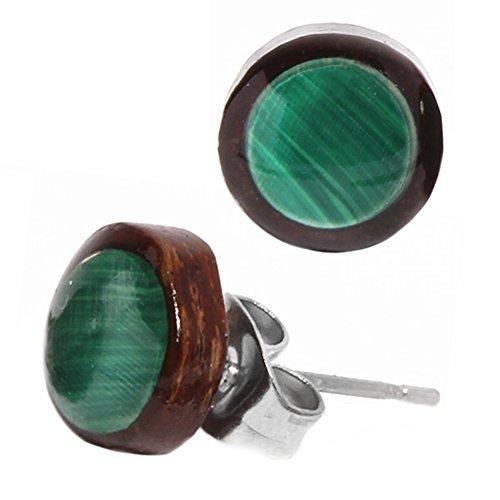 Boucles d'oreilles Chic-Net goujon rondes unisexes bouchon d'oreille en bois de coco boucles d'oreilles malachite de bijoux en acier inoxydable verts