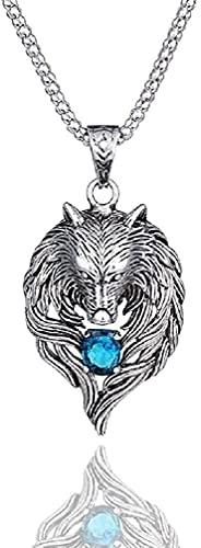 """DFWY Norse Wikinger Wolf Halskette for Männer, Zirkonia Wolf Kopf Anhänger Halskette mit 23,6\""""Kette, Vintage Wolf Totem Halskette, Wolfszeichen Amulett Halskette (Color : Blue Cz)"""