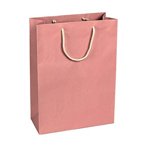 Papiertragetasche Rosa, 27 x 37 x 12 cm, mit Baumwollhenkel Papiertasche, Geschenktüte Kraftpapier - 12 Stück/Pack