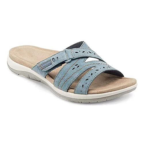 Woman Orthopedic Comfy Premium Round Toe Sandals, Quanwang Hollow Out Hook-and-loop Design...