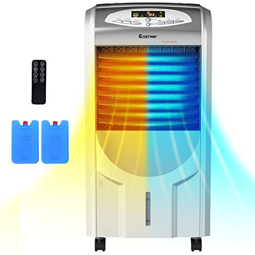 COSTWAY Evaporative Cooler and Heater, Portable Cooling Fan with Remote Control, 3-Mode, 3-Speed and Timer Function, Include Ice Crystal Boxes, Water Tank and Casters, Bladeless Cooler for Home Office