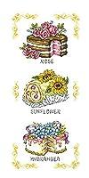クロスステッチ 刺繍キット G86/お花のケーキ 14CT 白 30x56cm [並行輸入品]