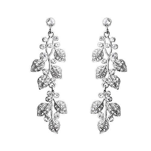 ASTRUE Women's Bohemian Boho Wedding Bridal Flower Wave Austrian Crystal Floral Vine Chandelier Hollow Dangle Earrings in Silver