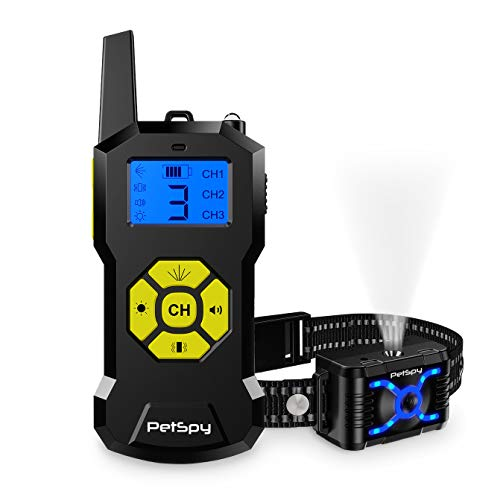 PetSpy Citronella Spray Dog Training Collar with Remote up to 2700Ft w/4 Humane Training Modes, Spray, Vibration, Beep, Light - Waterproof No Shock Anti-Bark Collar for Small Medium Large Dogs