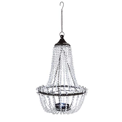 Garden Meadow 23.2-Inch Tall Hanging Metal and Acrylic Solar Chandelier