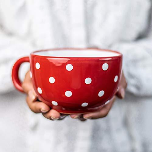 City to Cottage | Tasse à café, à thé, à soupe | rouge à pois blancs en céramique avec anse faite et peinte à la main | Très Grande 500ml