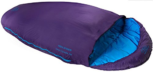Highlander Outdoor Products Saco de dormir para niños y niñas con capsulas para dormir de 2 estaciones, color morado