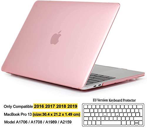 iNeseon Hülle für MacBook Pro 13 (2019 2018 2017 2016 Freisetzung), Plastik Hartschale Case Schutzhülle und Tastaturschutz für MacBook Pro 13 Zoll (A2159 A1989 A1708 A1706), Kristallrosa