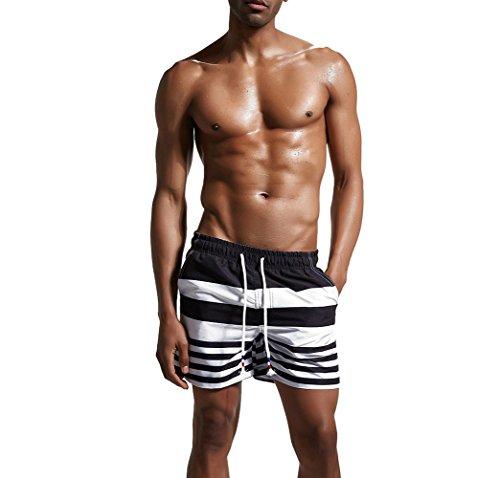 Hippolo Uomo Costume Da Bagno Boardshorts Casual Pantaloncini Asciugatura Rapida Surf Shorts (XL, nero)