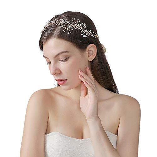 Azaleas-bruidslegering, haardruif-toevoeging met parels en bergkristallen, bruiloft-hoofdband voor bruidsmeisjes HP233-Gold-166-24-12