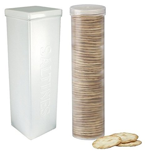 Home-X Set of 2 - Saltine Cracker Sleeve Storage Container/Cookie Stay Fresh Keeper, 1 Round and 1 Square