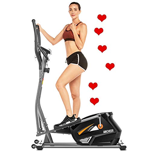 ANCHEER Elliptical Machine for Home Use, Elliptical Exercise Machine Trainer with APP Control Large Pedal & LCD Monitor Quiet Smooth Driven (Gray)