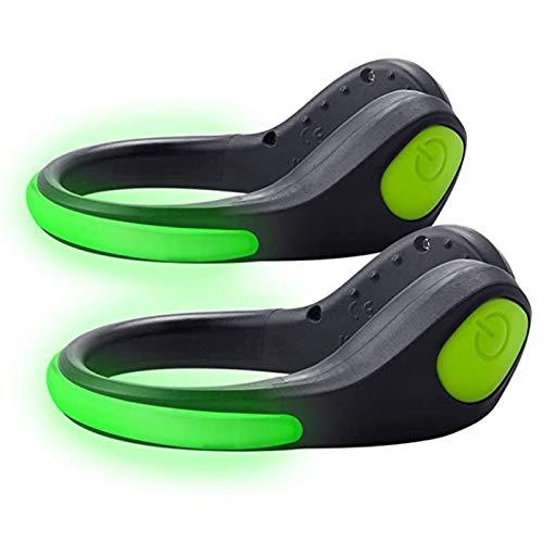 Wupettier 2Pcs Luce A Clip per Scarpe A LED, Lampada Lampeggiante Antipioggia Luce per Scarpe di Sicurezza per Ciclismo LED Lampeggiante per Corridori Che Fanno Jogging in Bicicletta (Green)