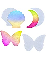 Koonafy 3 pcs Hars Silicone Resin Mallen,Epoxy Art Onderzetter Molds with Moon Butterfly Seashell,Casting Agaat Mould voor Coaster,Service Tray,Wall Hanging,Craft Decoration. (casting mold)